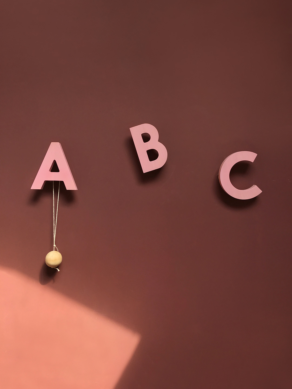 Alphabet Soup Wall hooks – ABC (Rose)